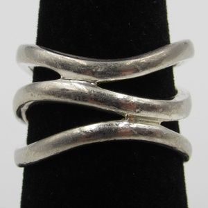Vintage Size 7.5 Sterling Rustic Odd Style Ring